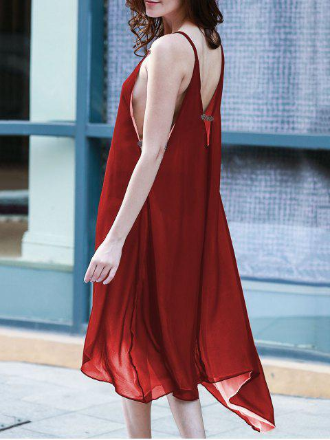 affordable High Low Irregular Hem Spaghetti Straps Dress - WINE RED XL Mobile