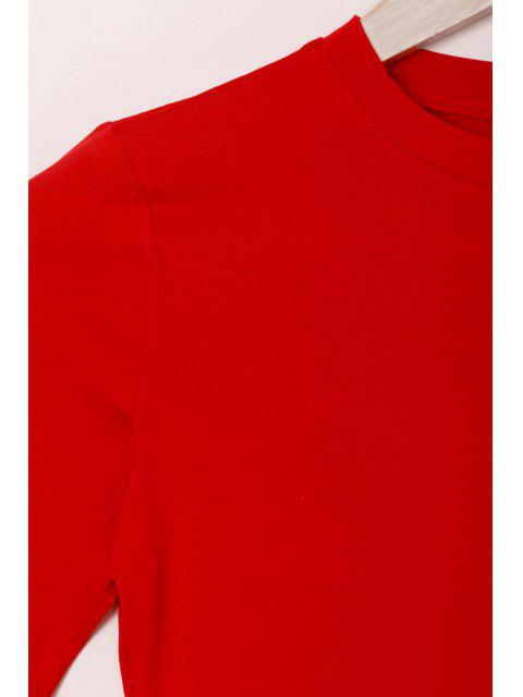 hot Solid Color Round Collar Short Sleeve Bodycon Dress - RED M Mobile