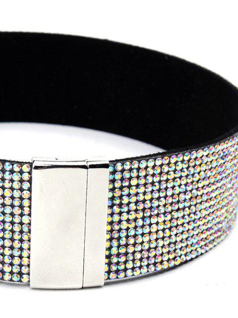fashion Faux Leather Rhinestone Wide Choker - WHITE  Mobile