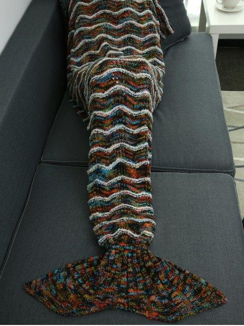 fashion Stripe Knitted Sofa Sleeping Bag Mermaid Blanket -   Mobile