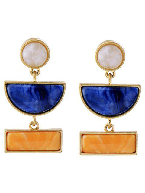 Boucles d'oreilles en forme de cercle géométrique avec décoration de gemmes fausses - Or  Mobile