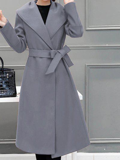 Wool Blend Maxi Long Wrap Shawl Collar Belted Coat - Gray Xl
