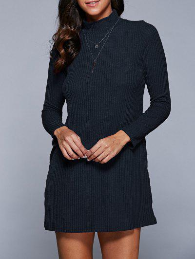 Long Sleeve A Line Sweater Dress - Purplish Blue S