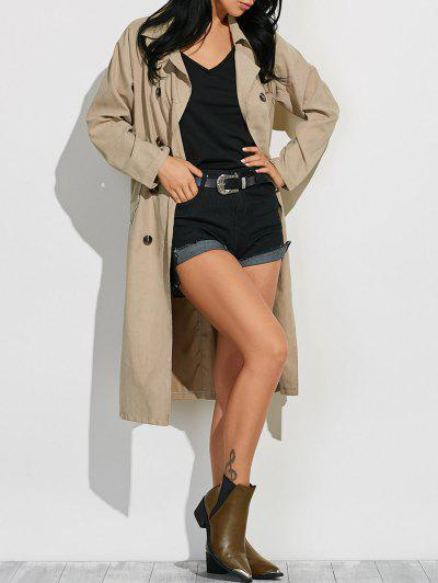 Belted Lapel Maxi Pea Trench Coat - Light Khaki M