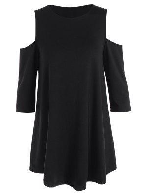 Loose Cold Shoulder T-Shirt - Black Xs