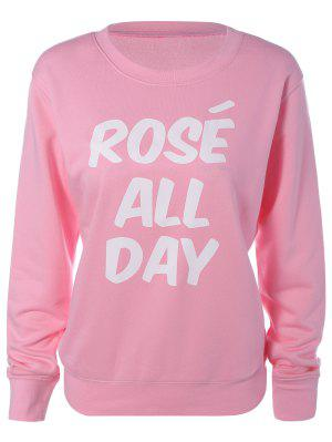 Loose Leisure Letter Sweatshirt - Pink L