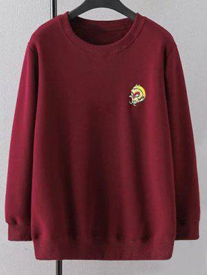 Plus Size Embroidered Crew Neck Sweatshirt - Wine Red Xl