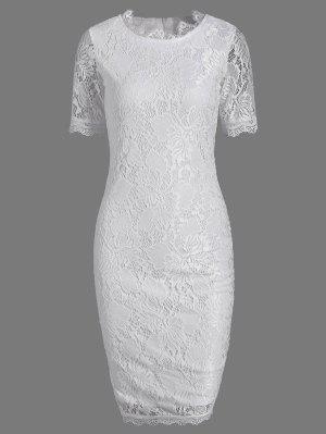 Lace Kurzarm Langes Hüllenfestes Kleid