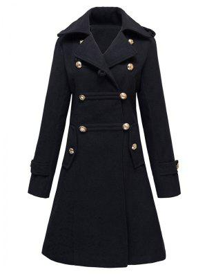 Woolen Double-Breasted Coat - Black S