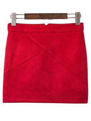 Mini Falda De Gamuza Sintética - Vino Rojo M