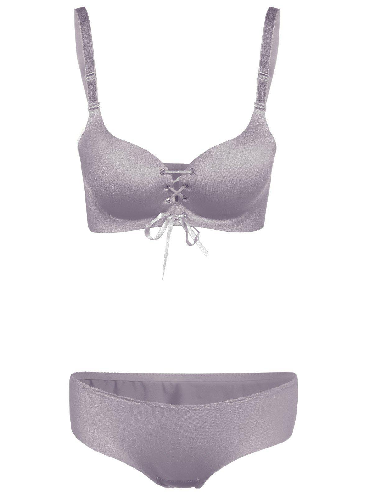 Push Up Lace Up Seamless Underwear Bra Set 197611402
