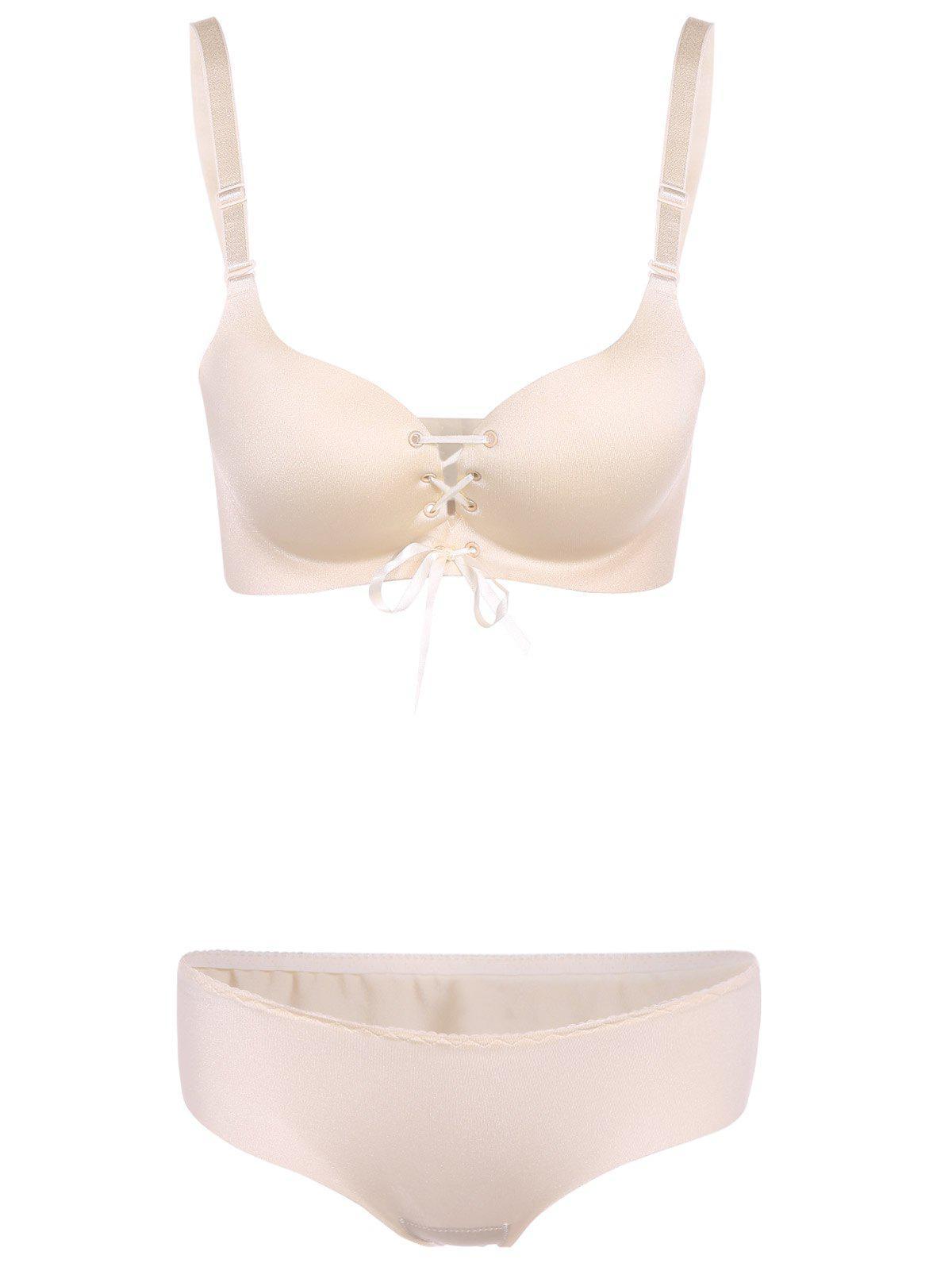 Push Up Lace Up Seamless Underwear Bra Set 197611405