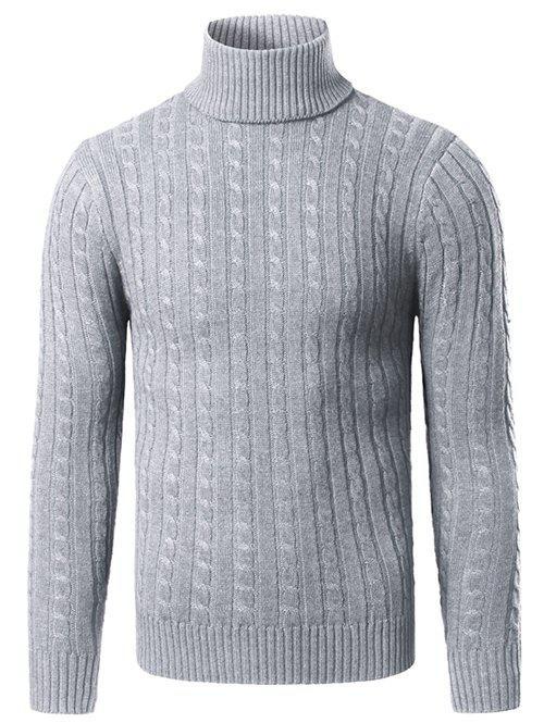 Rib Hem Turtleneck Twist Striped Sweater 199345021