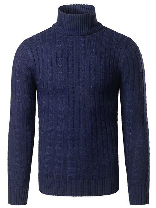 Rib Hem Turtleneck Twist Striped Sweater 199345027