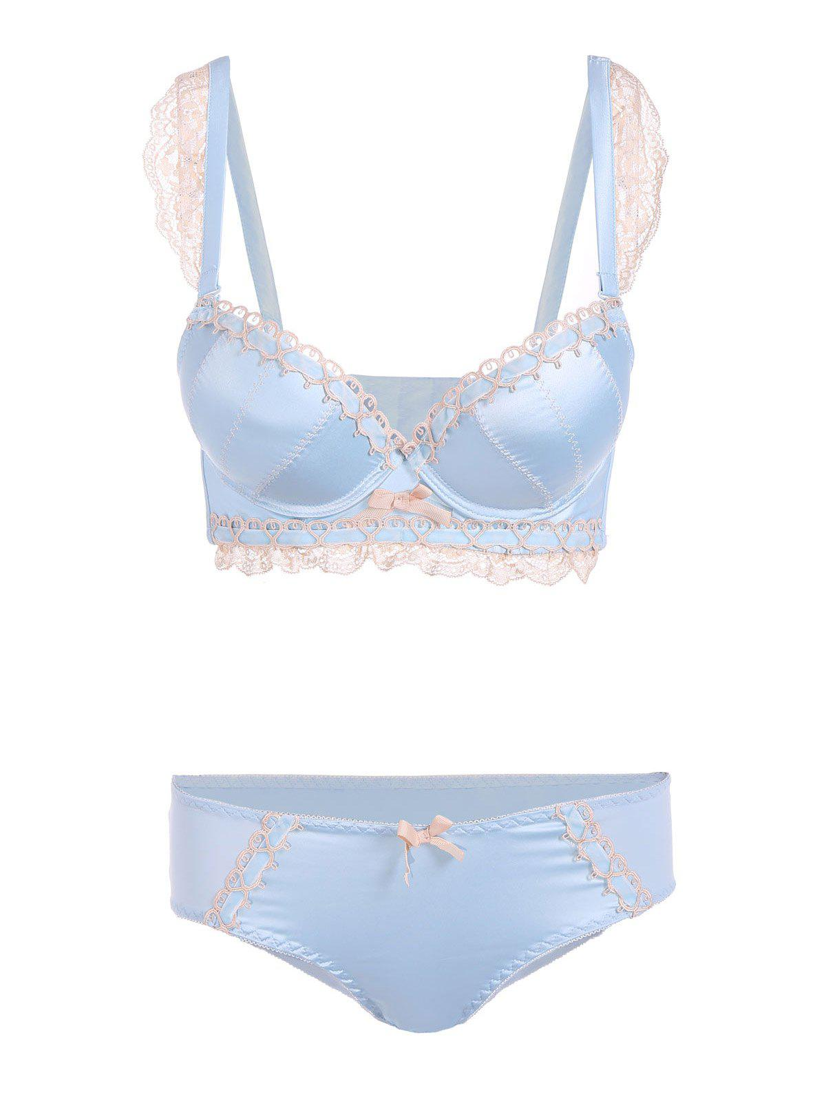 Padded Lace Embroidered Push Up Bra Set 197408301