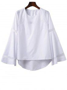 High Low Bell Sleeve Mesh Panel T-Shirt - White L