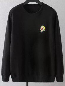 Plus Size Embroidered Crew Neck Sweatshirt - Black 2xl