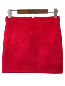 Mini Faux Suede Skirt - Wine Red S