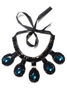 Collar De La Gota De Agua Artificial Zafiro Rhinestone - Azul