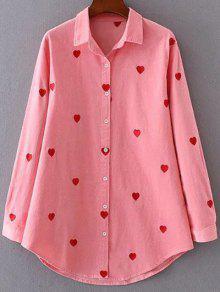 Camisa Del Corazón De La Pana Bordada - Rosa M