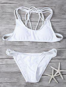 Conjunto De Biquíni Branco Com Tiras, Top Com Bojo  - Branco L