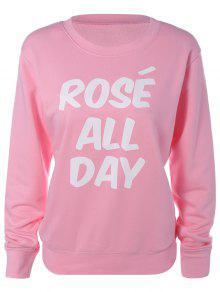 Loose Leisure Letter Sweatshirt - Pink S