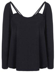 Casual Cut Out T-Shirt - Black Xl