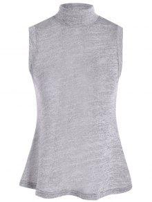 High Collar Slit Back Sleeveless Sweater - Gray L