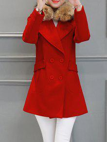 Buy Fur Collar Walker Peacoat - RED M