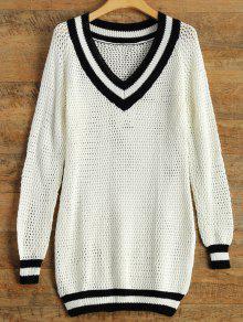 V Neck Furcal Sweater - Blanc L