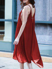 Alto Bajo Dobladillo Irregular Del Vestido De Tirantes De Espagueti - Vino Rojo Xl