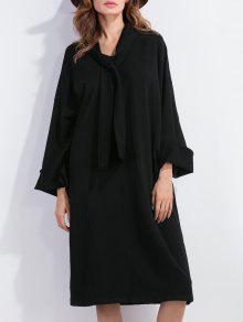 Vestido De Cambio De La Pajarita De Manga Larga - Negro S