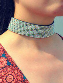 Faux Leather Rhinestone Wide Choker - White