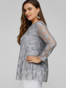 09c41eb1b6e 62% OFF  2019 Plus Size Lace Tunic Top In GRAY 2XL