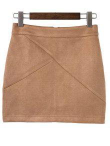 Mini Faux Suede Skirt - Khaki L
