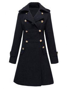 الصوف معطف مزدوجة الصدر - أسود L