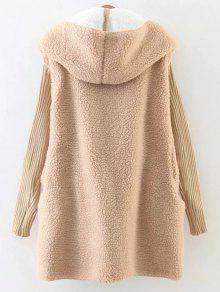 Hooded Fluffy Fleece Coat With Knit Sleeve KHAKI: Jackets & Coats ...