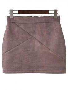 Mini Faux Suede Skirt - Pale Pinkish Grey S