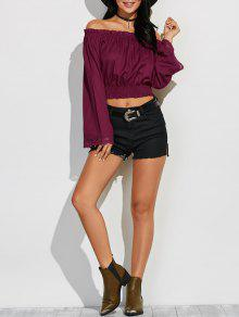 Off Shoulder Flared Sleeve Blouson Top - Wine Red S