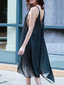 High Low Irregular Hem Spaghetti Straps Dress - Black Xl