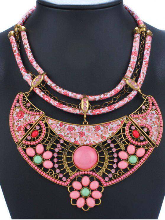 ladies Vintage Enamel Floral Pendant Necklace - PINK