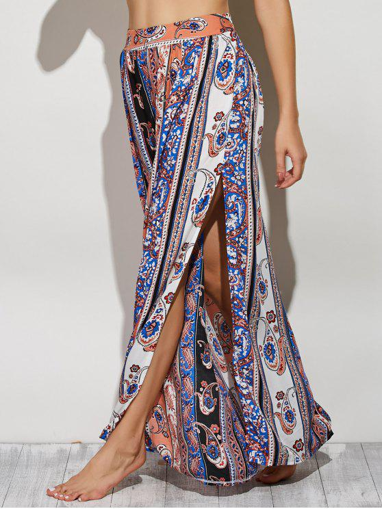 shops Paisley Pattern High Slit Maxi Skirt - COLORMIX L
