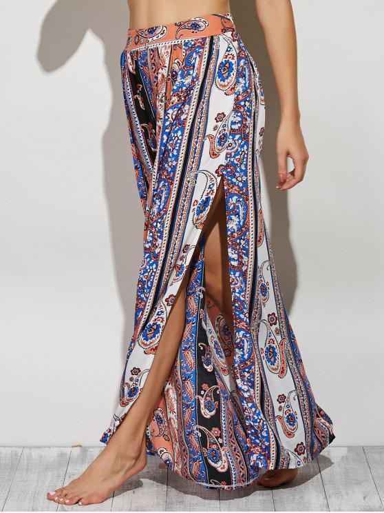trendy Paisley Pattern High Slit Maxi Skirt - COLORMIX S