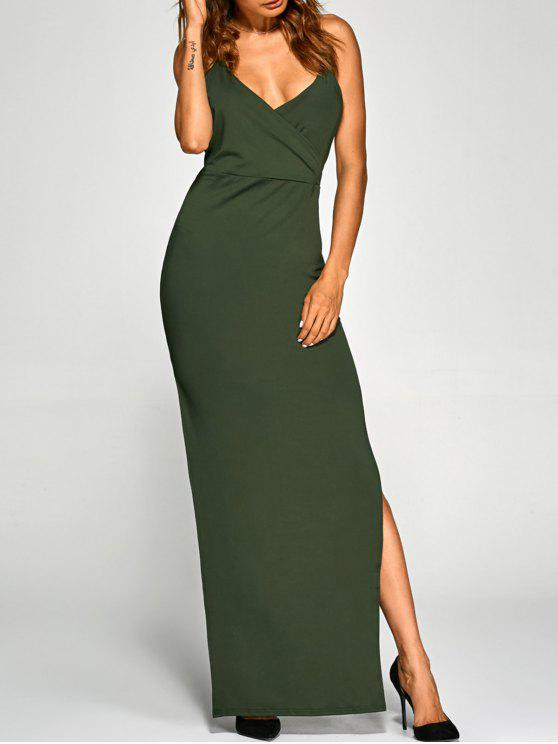 affordable Low Cut Cross Back Slit Party Dress - ARMY GREEN M