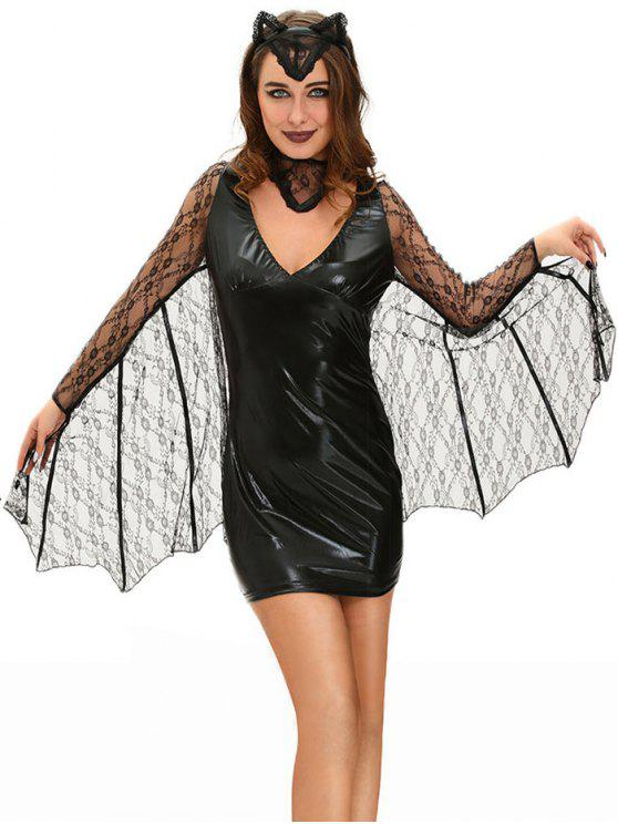2019 Bat Cosplay Suit Long Sleeve Faux Leather Dress Halloween