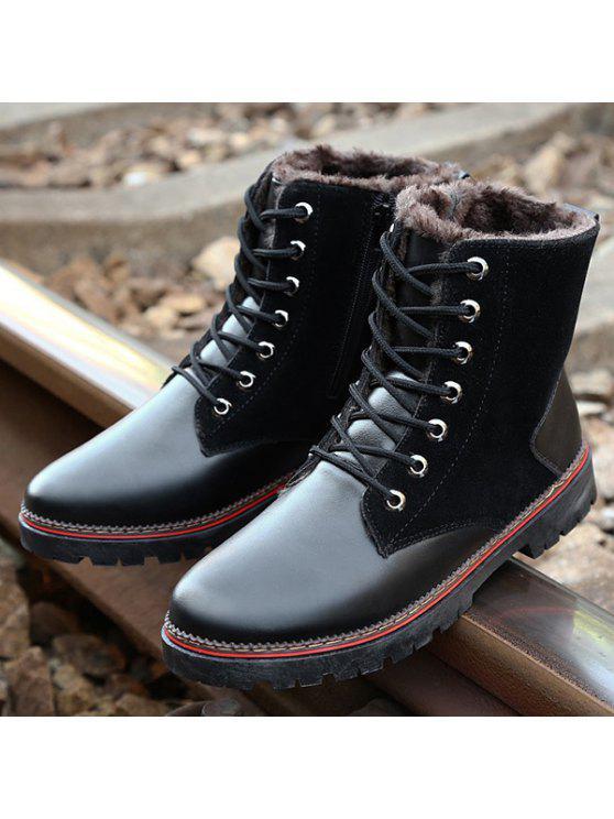 خمر جلد الغزال الربط الدانتيل متابعة الأحذية - أسود 41