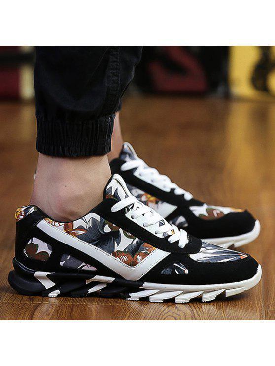 الأزهار طباعة الجلد المدبوغ تقسم أحذية رياضية - أسود 40