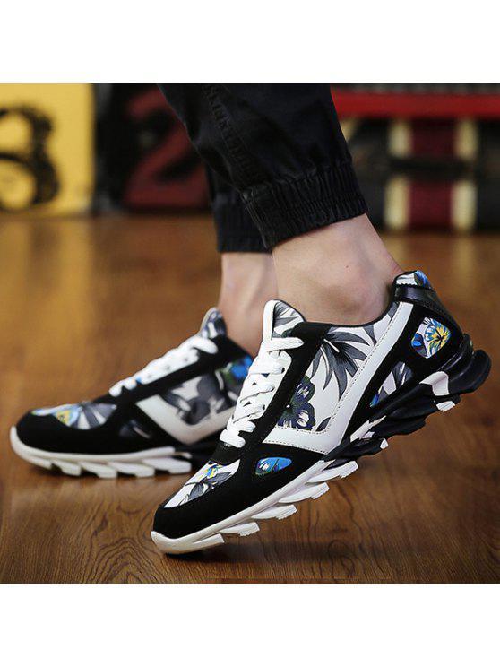 الأزهار طباعة الجلد المدبوغ تقسم أحذية رياضية - أزرق 40