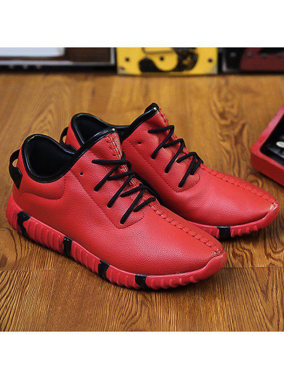 خياطة الدانتيل متابعة محكم بو الجلود أحذية رياضية - أحمر 44