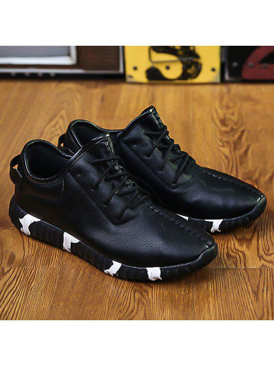 حذاء رياضي من الجلد المزيف بأربطة - أسود 40